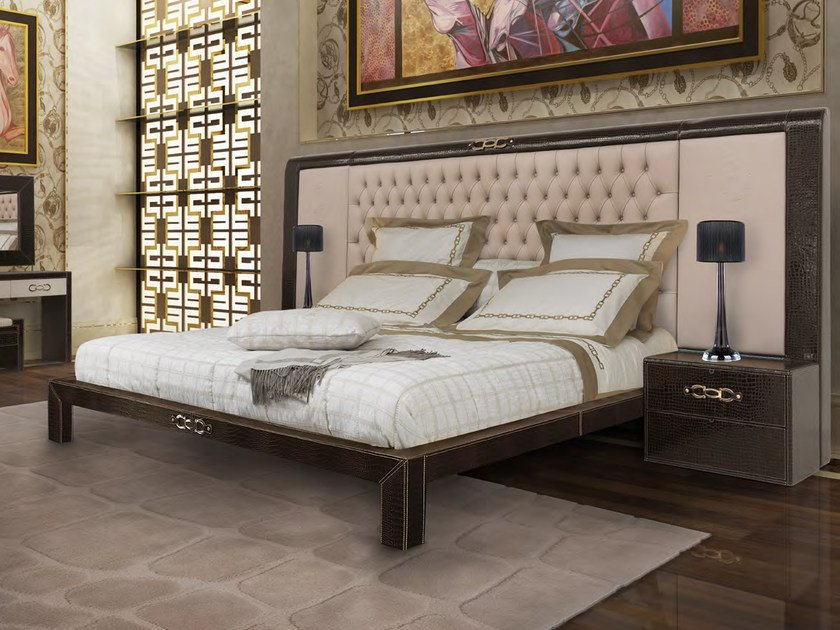 Leather double bed with tufted headboard RIBOT | Bed by Formitalia