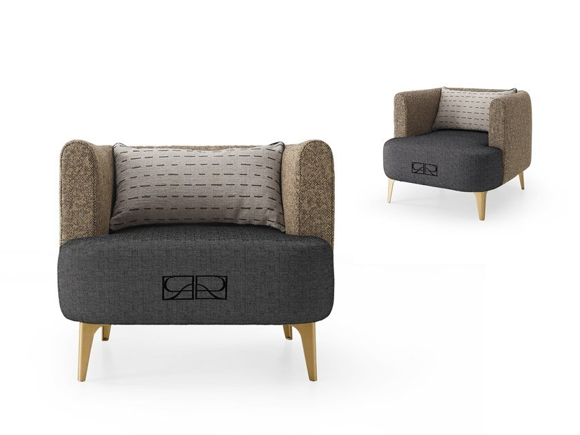 Upholstered fabric armchair with armrests RICHMOND   Armchair with armrests by Barnini Oseo