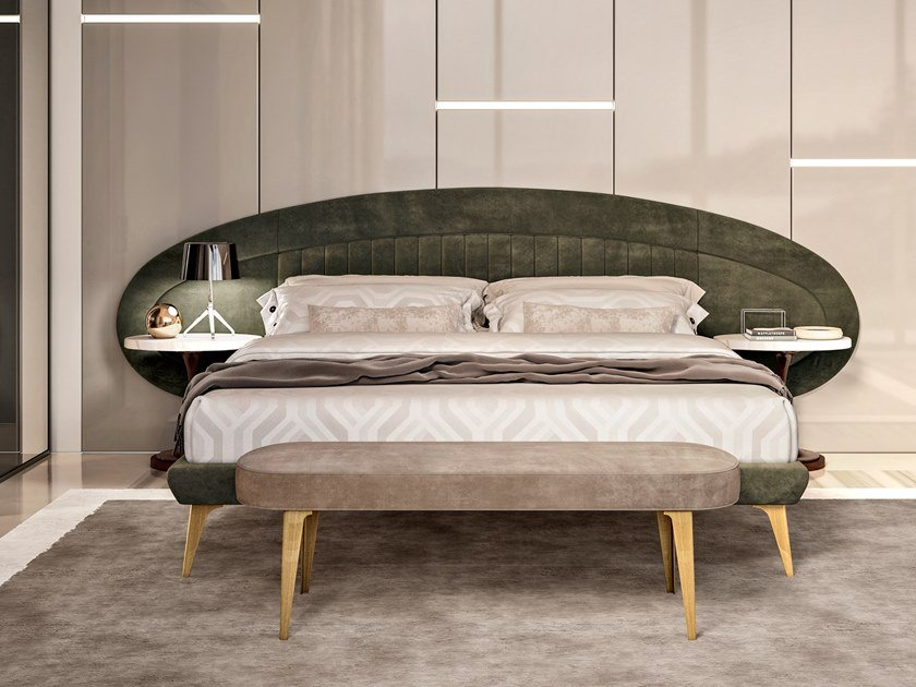 Leather double bed with upholstered headboard RICHMOND   Bed by Barnini Oseo