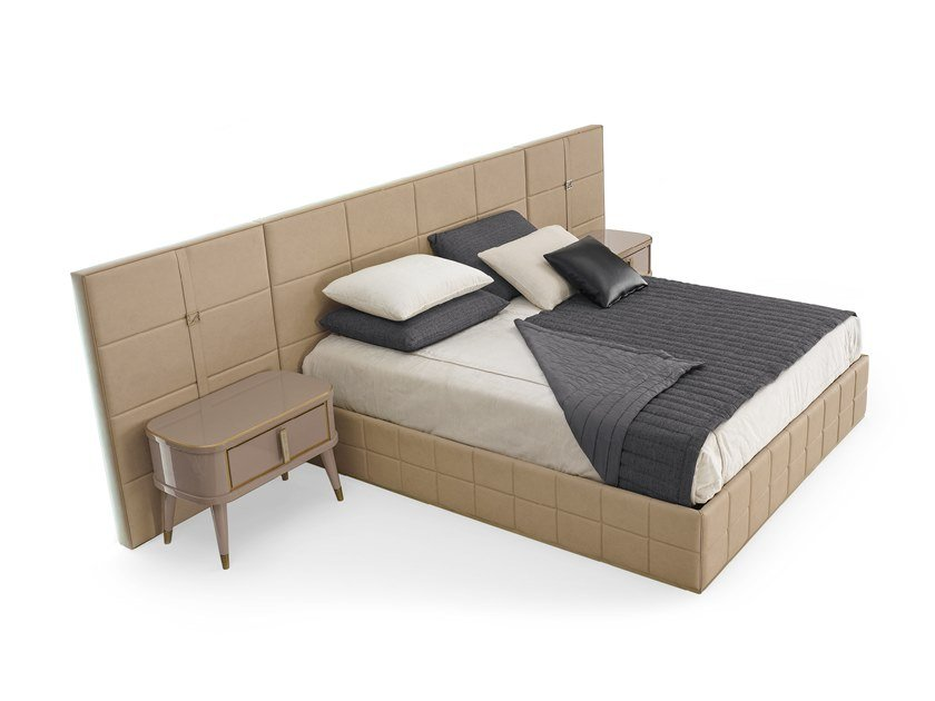 Leather double bed with upholstered headboard RICHMOND | Bed with upholstered headboard by Barnini Oseo