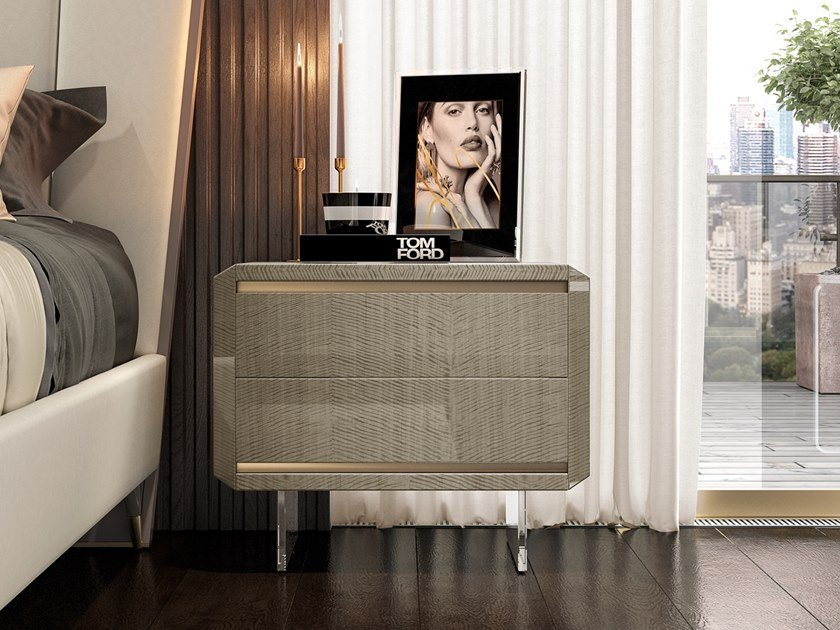 Lacquered rectangular bedside table with drawers RICHMOND   Lacquered bedside table by Barnini Oseo