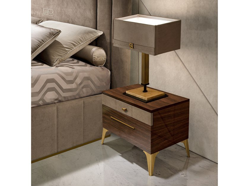 Rectangular bedside table with drawers RICHMOND   Multi-layer wood bedside table by Barnini Oseo