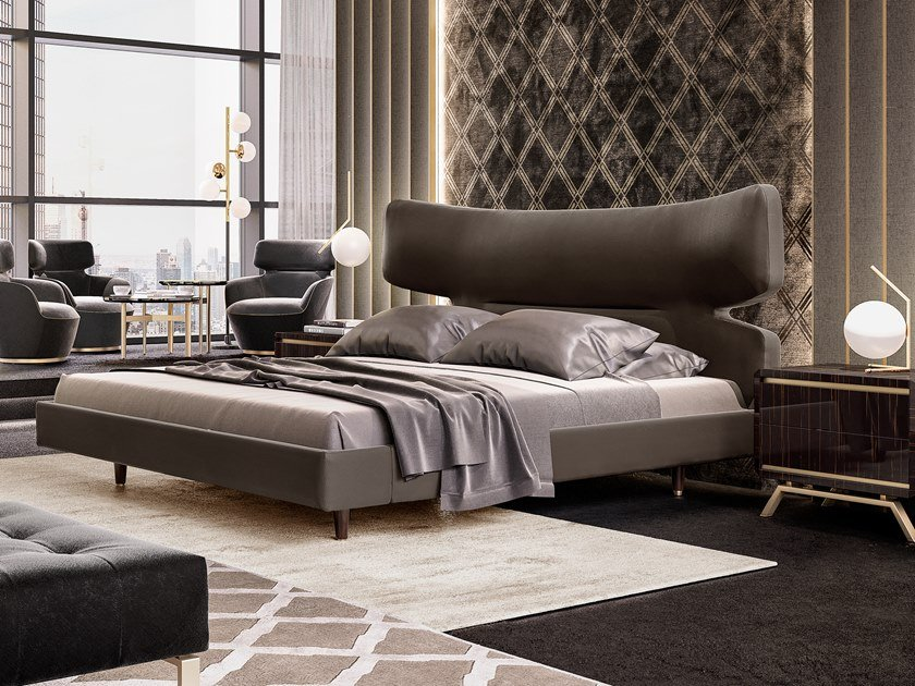 Upholstered leather double bed RICHMOND   Leather bed by Barnini Oseo