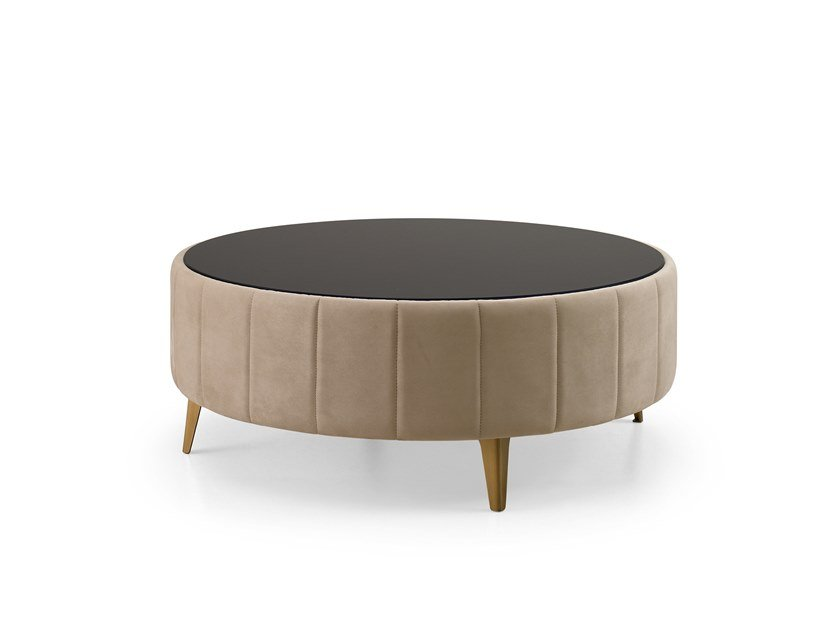 Round leather coffee table RICHMOND | Leather coffee table by Barnini Oseo