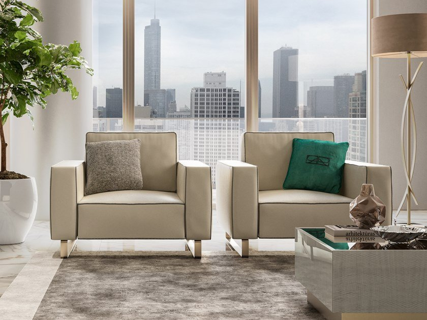 Sled base upholstered fabric armchair with armrests RICHMOND UPON THAMES | Sled base armchair by Barnini Oseo