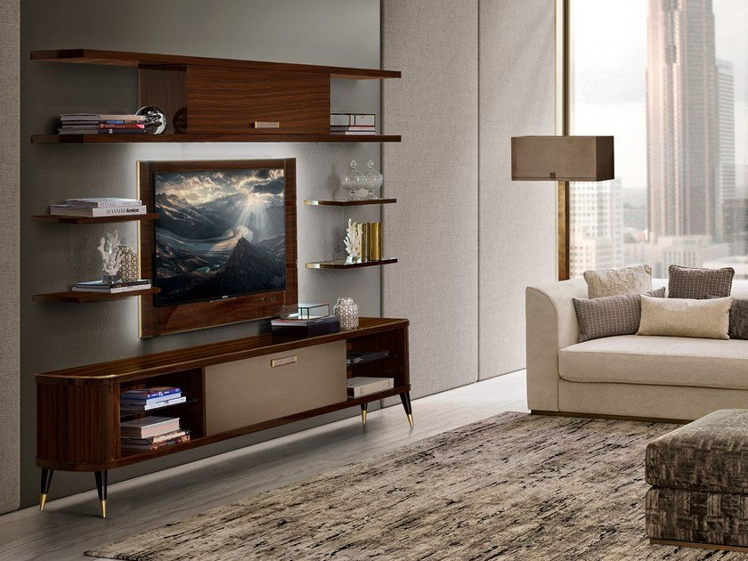 Wooden TV cabinet with flap doors RICHMOND   TV cabinet by Barnini Oseo