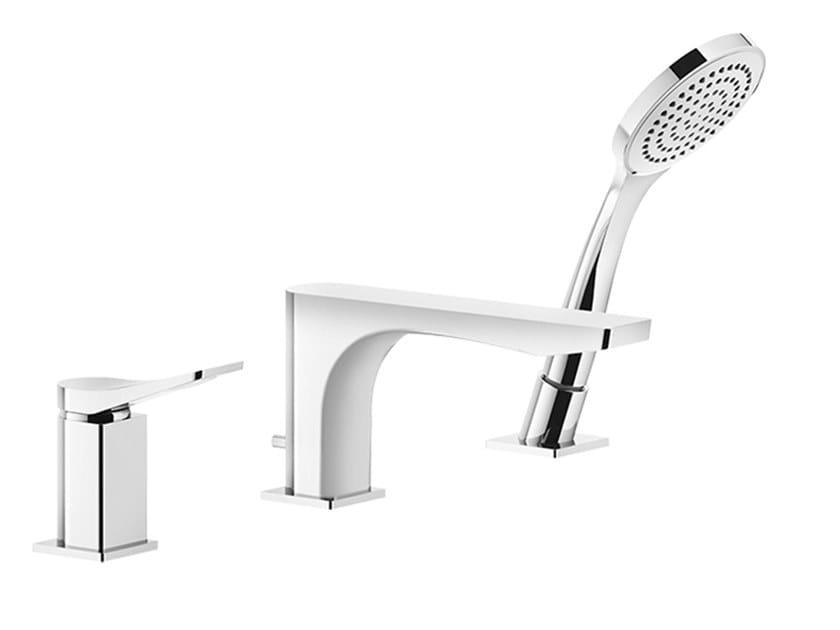 Mitigeur de baignoire 3 trous en laiton avec douchette RILIEVO | Mitigeur de baignoire avec douchette by Gessi