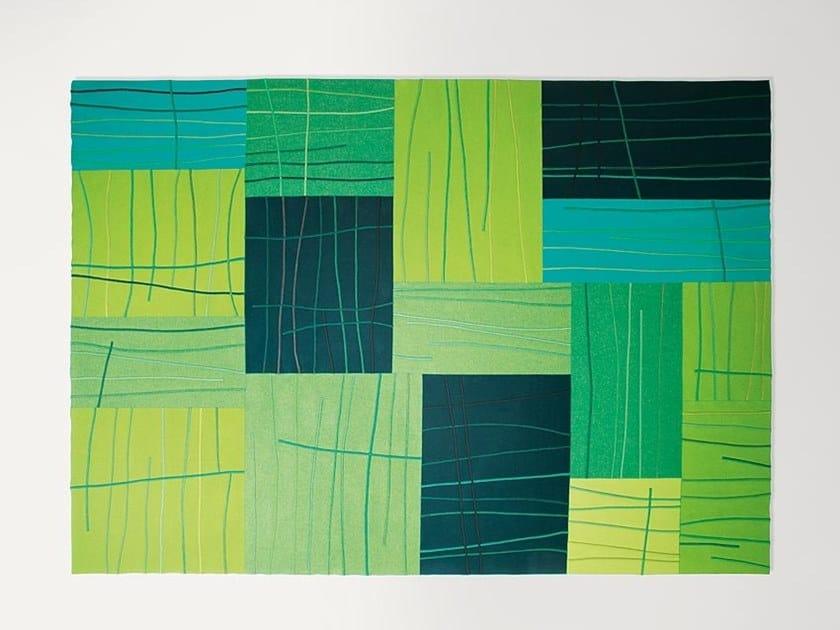 Rectangular wool rug with geometric shapes RILIEVO   Rectangular rug by paola lenti