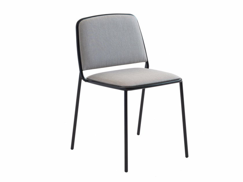 Upholstered stackable fabric chair Ring 670 by Metalmobil