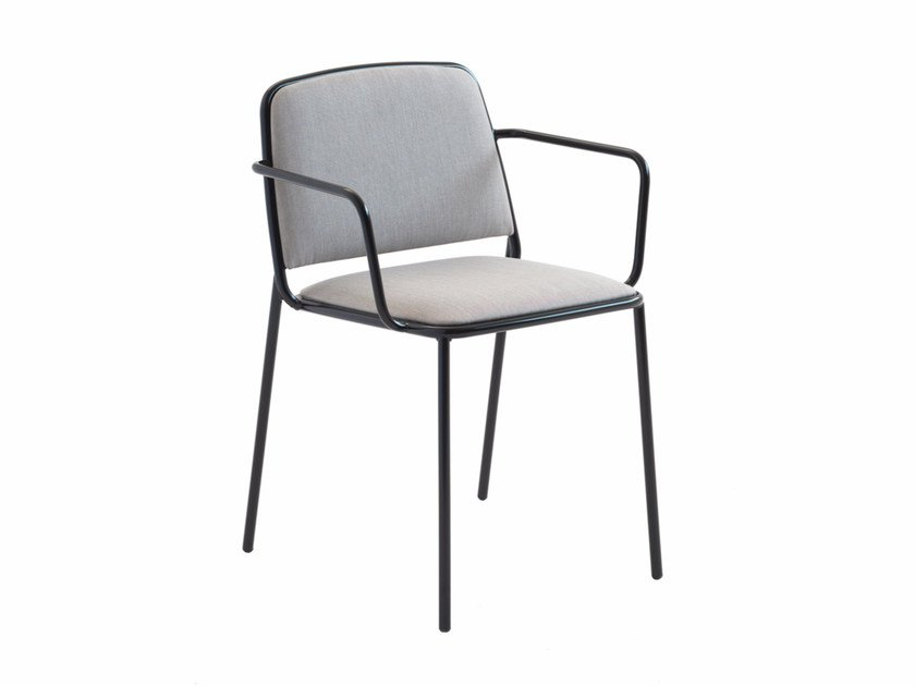 Upholstered fabric chair with armrests Ring 671 by Metalmobil