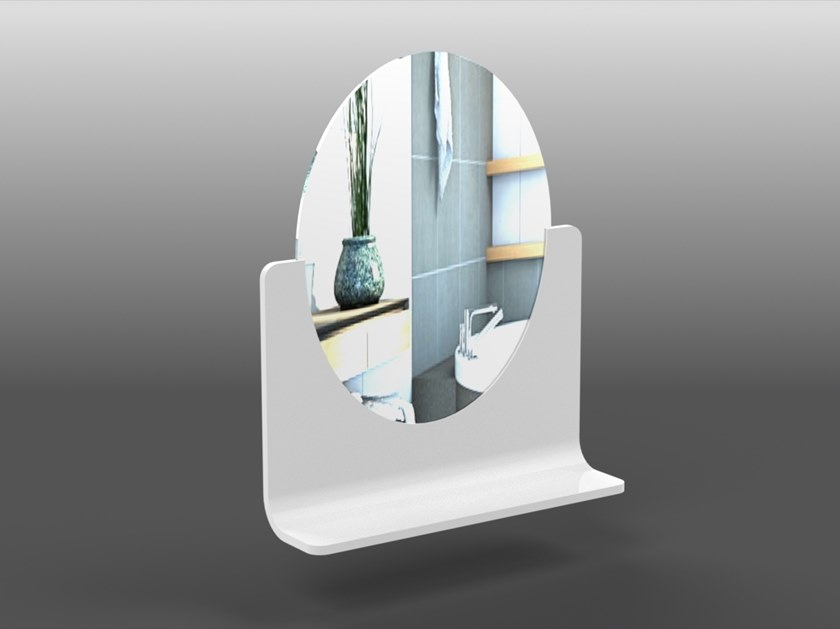 Oval wall-mounted Corian® mirror with shelf RING | Mirror with shelf by AMA Design