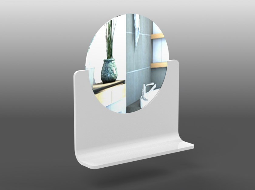 Round wall-mounted Corian® mirror with shelf RING | Round mirror by AMA Design