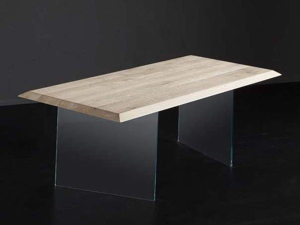 Rectangular wood and glass dining table RIO + ICE by AltaCorte