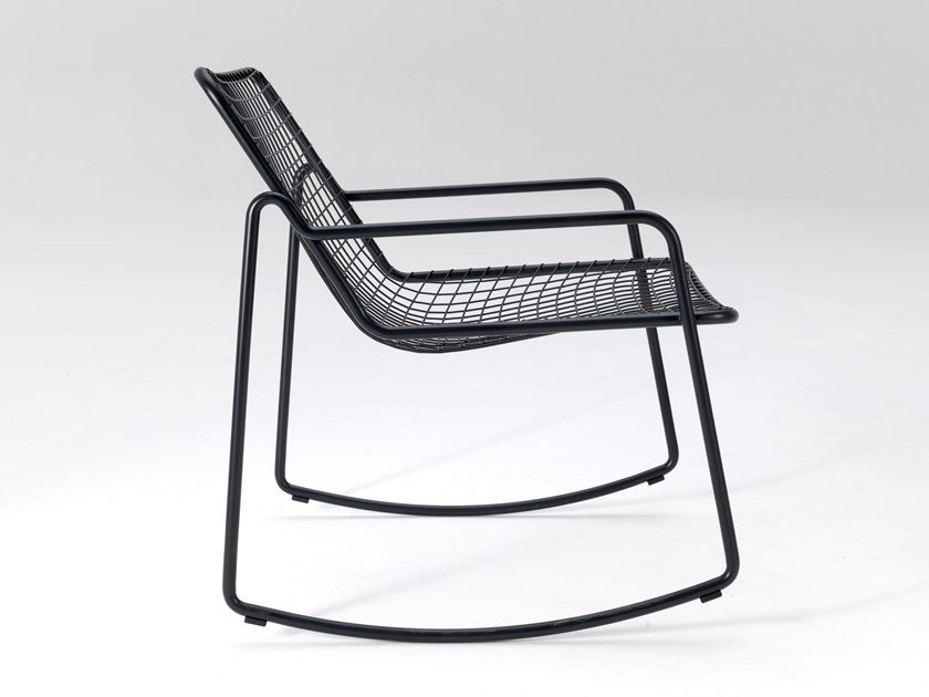 Rocking steel easy chair with armrests RIO R50 by emu