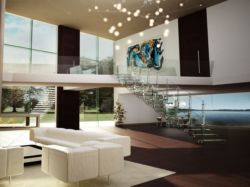 Self supporting glass Open staircase RIO by Siller Treppen