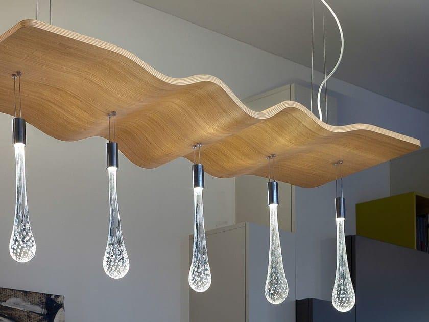 Lampada a sospensione a LED a luce diretta e indiretta in rovere RIPPLE | Lampada a sospensione by Masiero