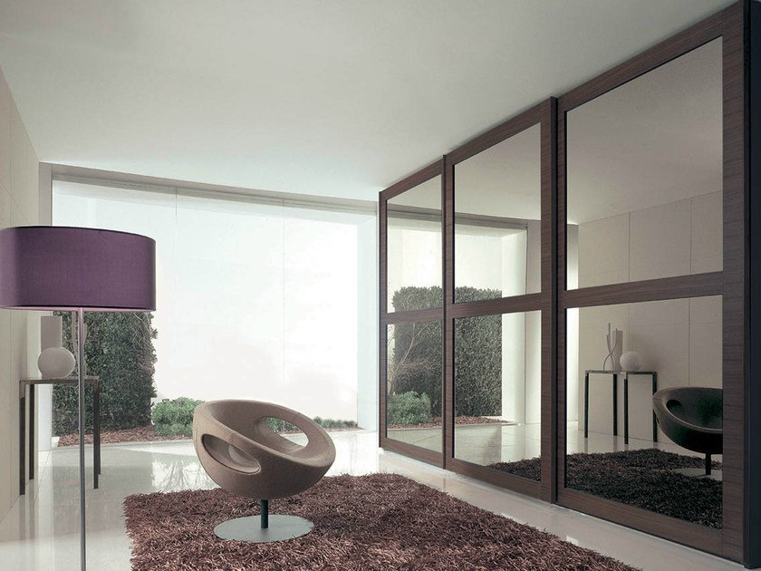 Mirrored wardrobe with sliding doors RIQUADRO by Fimar