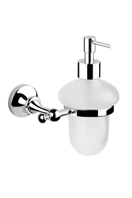 Wall-mounted satin glass liquid soap dispenser RITRÒ | Satin glass liquid soap dispenser by RITMONIO