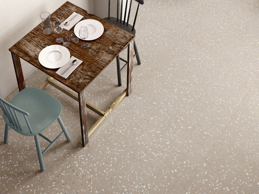 Indoor porcelain stoneware wall/floor tiles with stone effect RITUAL DOT GREIGE by CERAMICA SANT'AGOSTINO