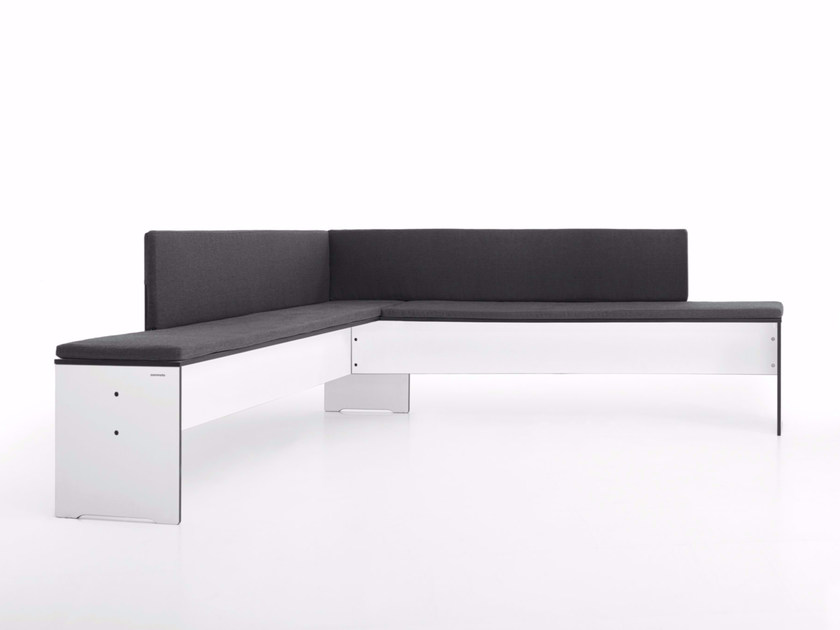 Upholstered bench with back RIVA | Bench with back by conmoto