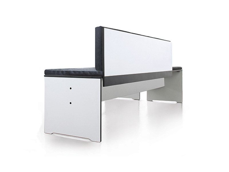 Upholstered HPL bench with back RIVA   Bench with back by conmoto
