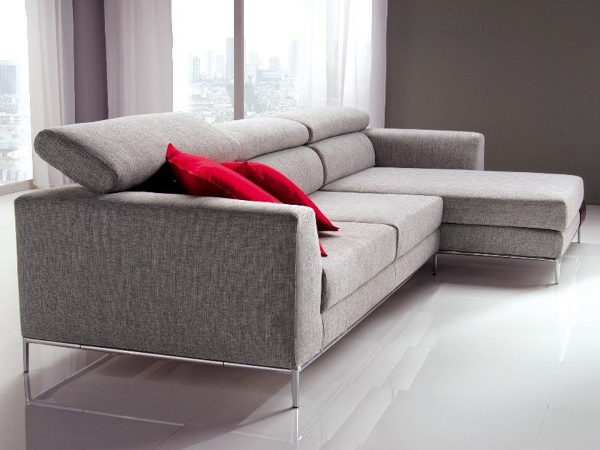 3 seater fabric sofa with chaise longue RIVER | Sofa with chaise longue by Gobbo Salotti