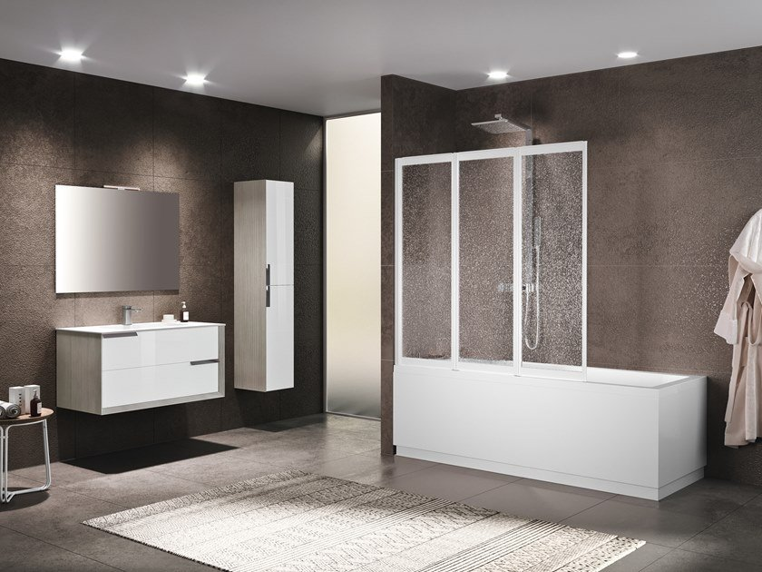 Folding glass bathtub wall panel RIVIERA 2.0 3V by NOVELLINI