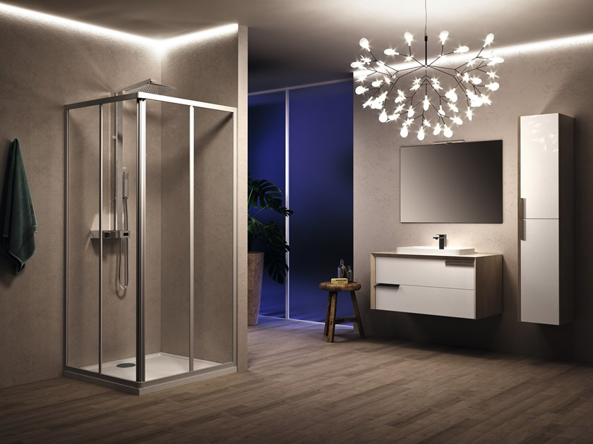 Corner shower cabin with sliding door RIVIERA 2.0 A Asymmetric by NOVELLINI
