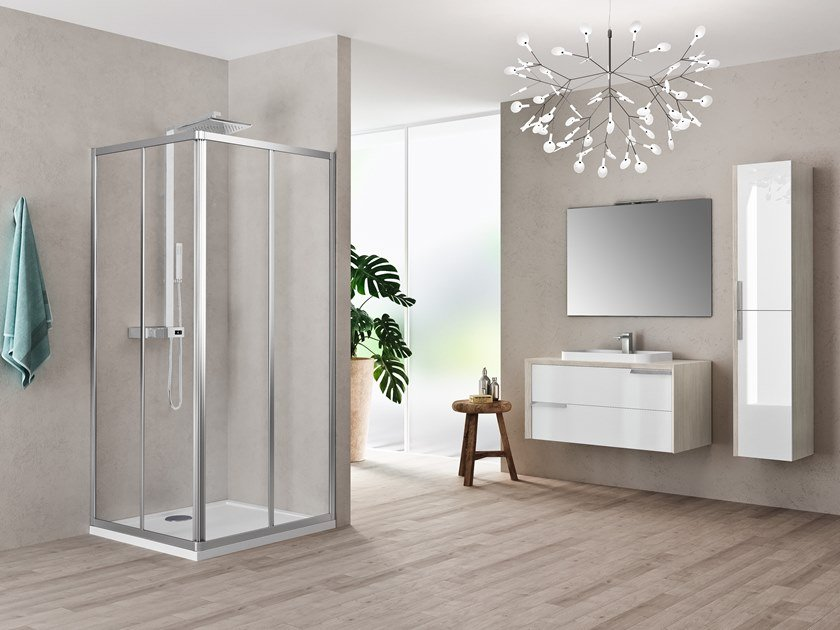 Corner shower cabin with sliding door RIVIERA 2.0 A by NOVELLINI