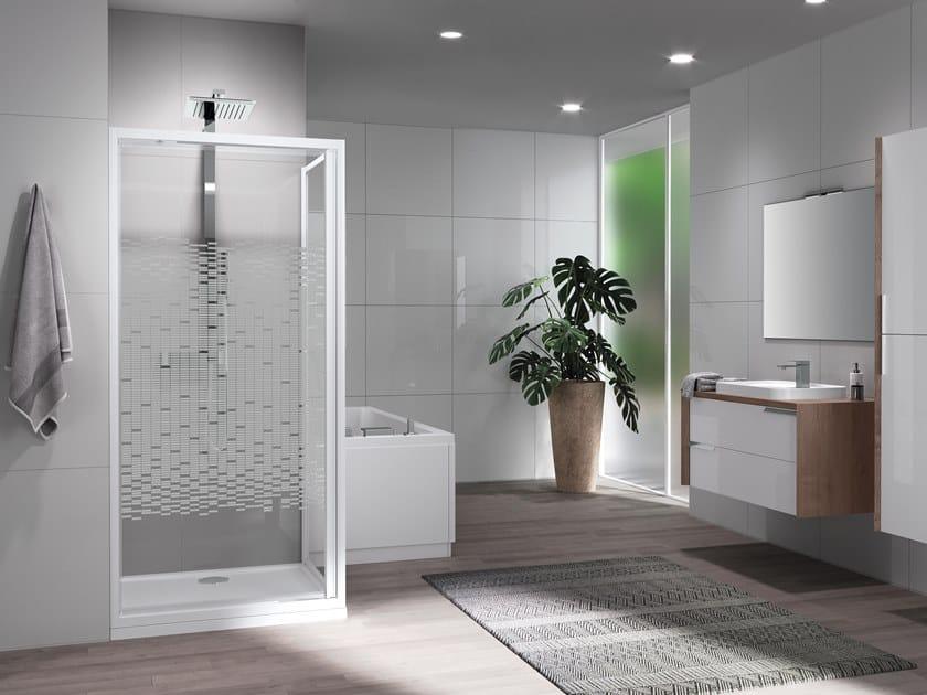 Corner shower cabin with pivot door RIVIERA 2.0 G+F by NOVELLINI