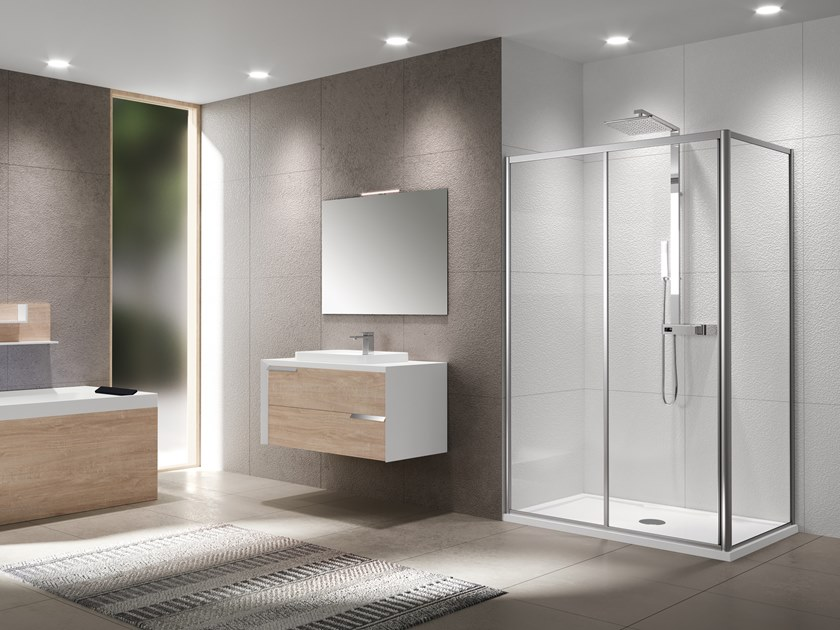Corner shower cabin with sliding door RIVIERA 2.0 2P+F by NOVELLINI