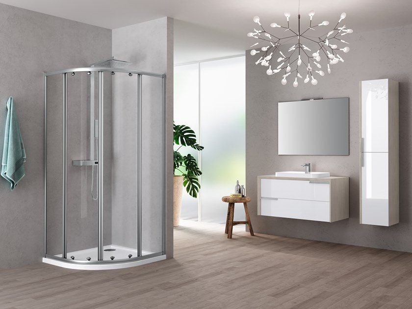 Corner semicircular shower cabin with sliding door RIVIERA 2.0 R by NOVELLINI
