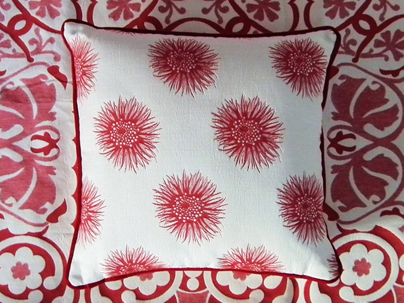 Jacquard fabric with graphic pattern RIVIERA DAHLIA by l'Opificio
