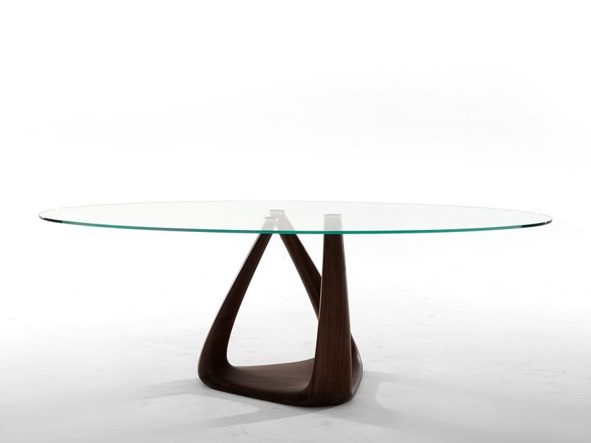 Round wood and glass table RIZOMA by Tonin Casa