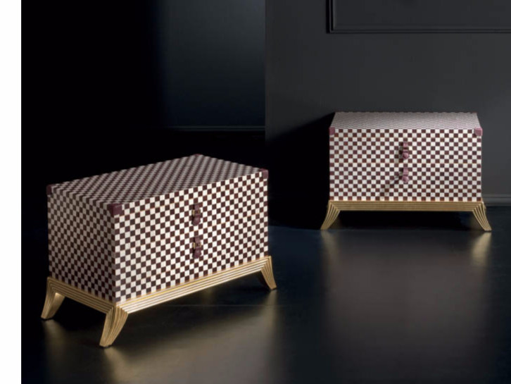 Lacquered rectangular bedside table with drawers RM163 | Bedside table by Rozzoni