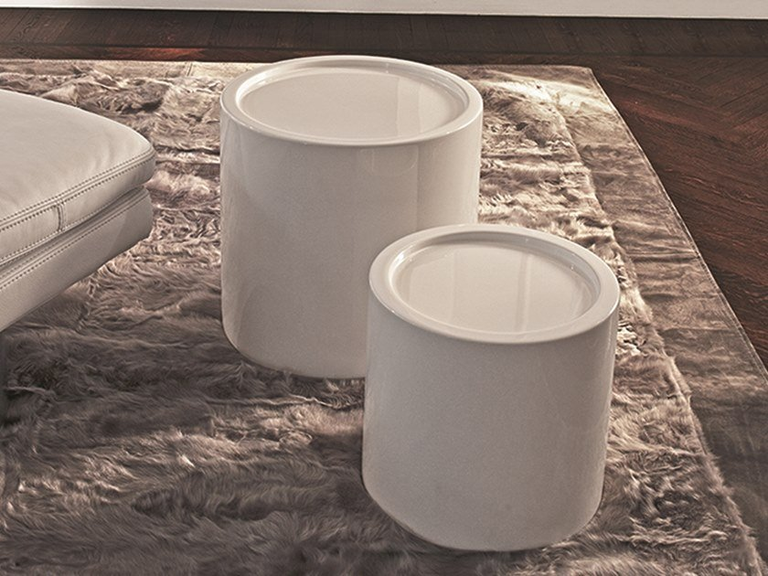 Round garden side table with tray ROADSTER | Round coffee table by Longhi
