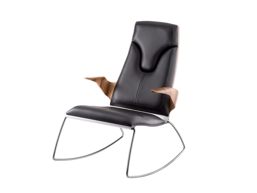 Rocking leather armchair with armrests STRESEMANN | Rocking armchair by rosconi