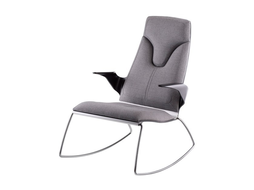 Rocking fabric armchair with armrests STRESEMANN | Rocking armchair by rosconi