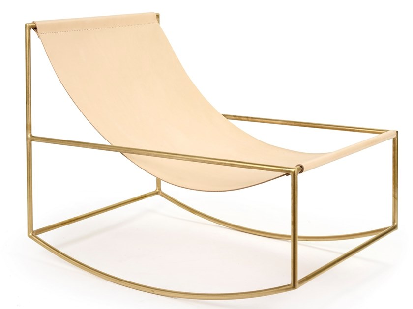 Rocking brass armchair with armrests ROCKING CHAIR | Brass armchair by valerie_objects