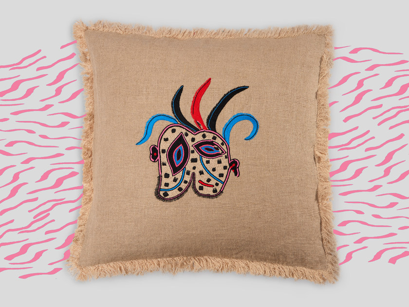 Hand embroidered cushion RODIN by Jupe by Jackie