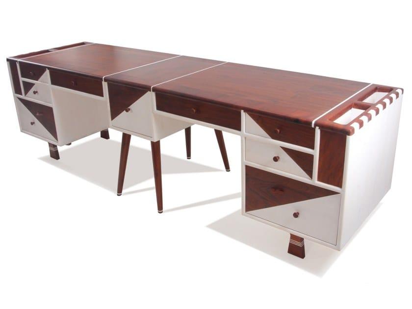 Rectangular solid wood office desk ROHIIN by ALANKARAM