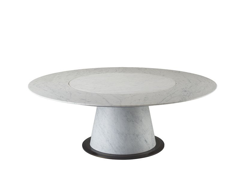 Round marble table with Lazy Susan ROLANDO by Promemoria