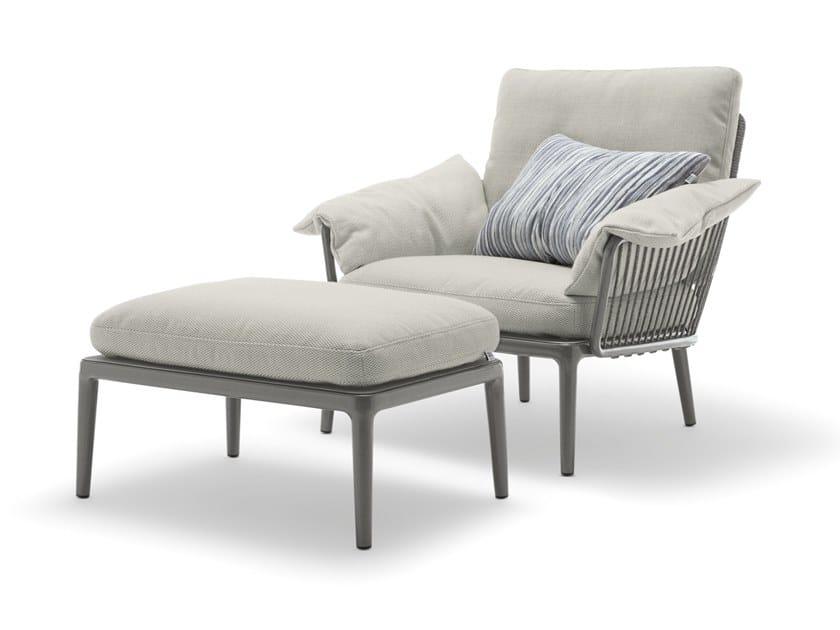 Fabric and aluminium garden armchair with armrests ROLF BENZ 271 YOKO | Garden armchair by Rolf Benz