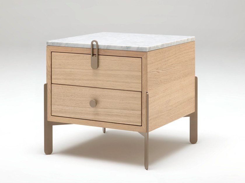 Square bedside table with drawers ROLF BENZ 914 | Oak bedside table by Rolf Benz