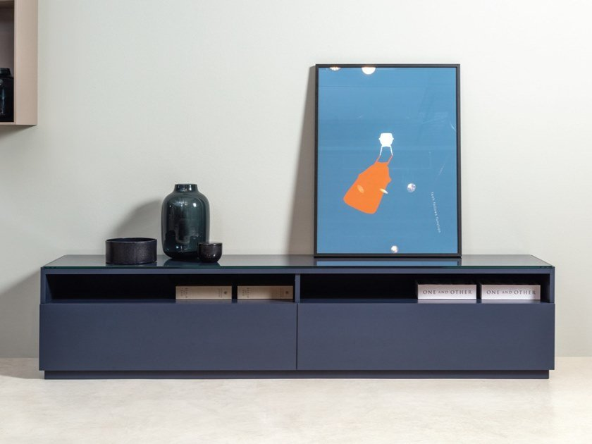 Rolf Benz 9200 Stretto Low Wooden Tv Cabinet With Drawers