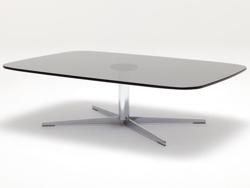 Tavolino rettangolare in vetro con base a 4 razze ROLF BENZ 959 | Tavolino in vetro by Rolf Benz
