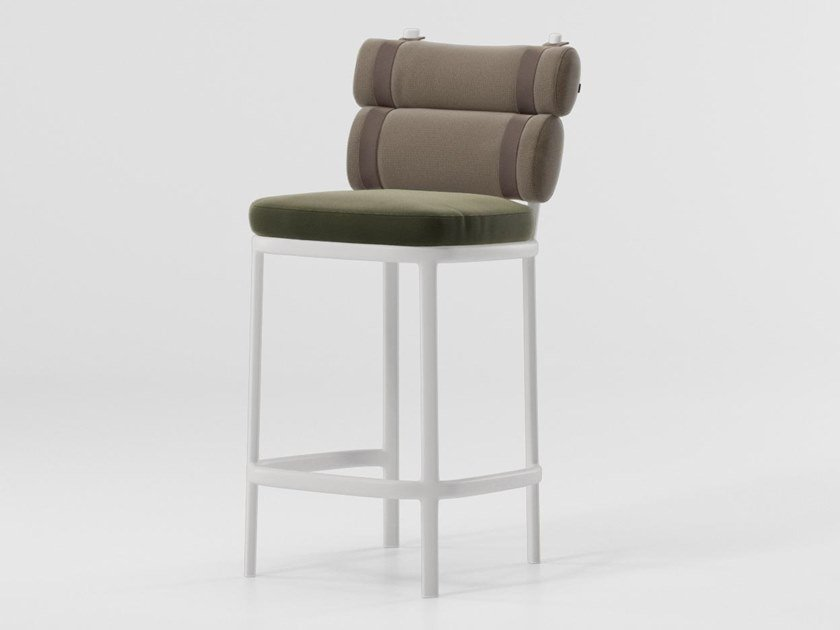 High upholstered fabric stool ROLL | Stool by Kettal