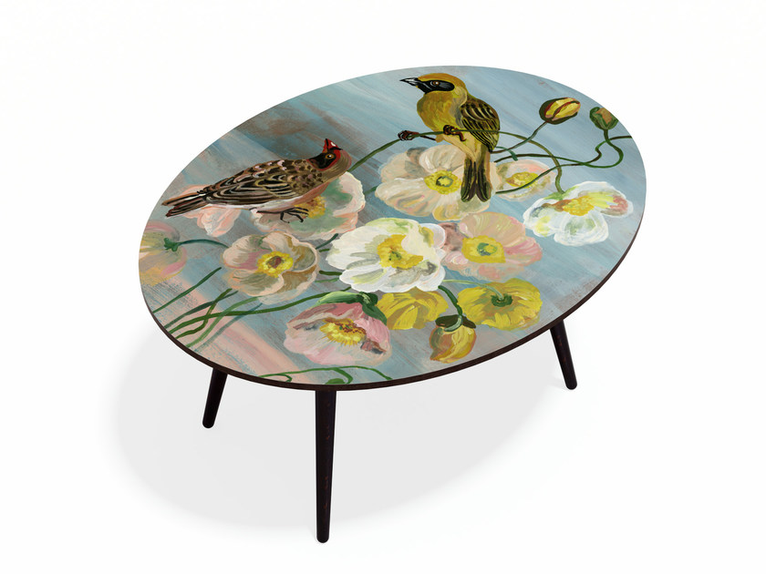 Oval Beech wood and HPL coffee table ROMANTIC BIRDS XL by Bazartherapy