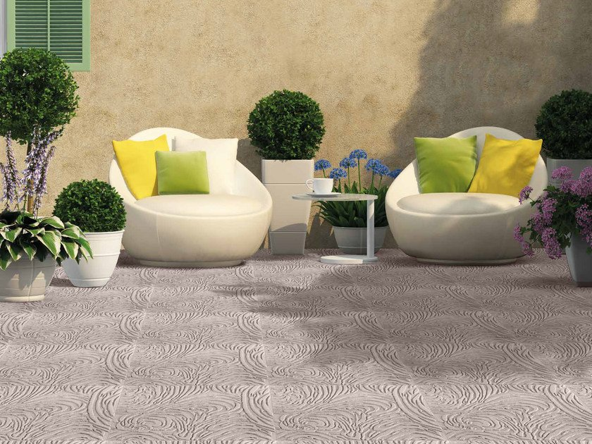 Reconstructed stone outdoor floor tiles ROMANTIC by RECORD - BAGATTINI