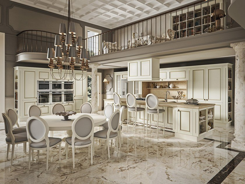 Cucina componibile in marmo con isola ROMANTICA DECOR - GOLD EDITION ...